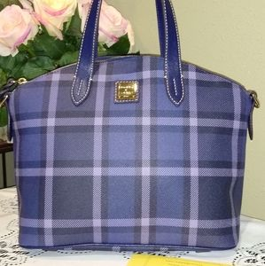 DOONEY AND BOURKE BLUE PLAID SATCHEL